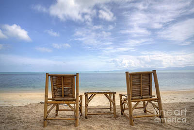 Two Bamboo Beach Chair Poster by Anek Suwannaphoom