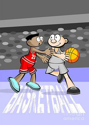Two Basketball Players Face Off On Possession Of The Ball Poster