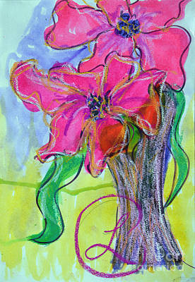 Two Big Pink Blooms Poster by Lynda Cookson