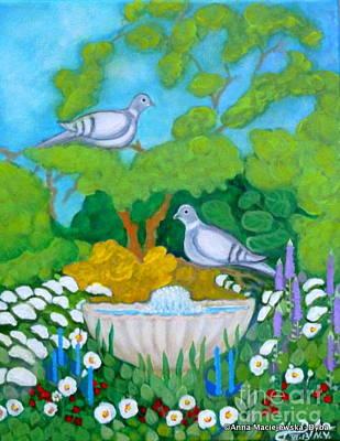 Two Birds At The Fontain    Poster by Anna Folkartanna Maciejewska-Dyba