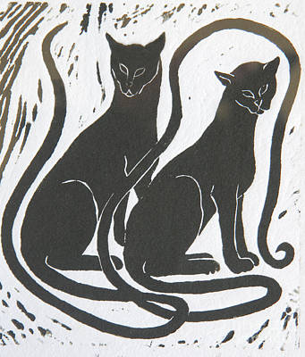 Poster featuring the drawing Two Black Felines by Nareeta Martin