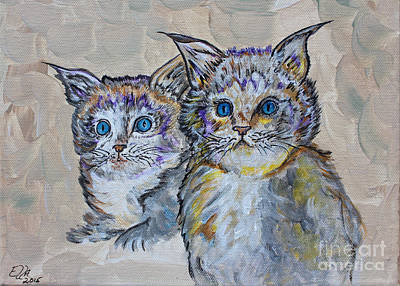 Two Blue Eyed Kittens - Colorful Art By Ella Poster by Ella Kaye Dickey