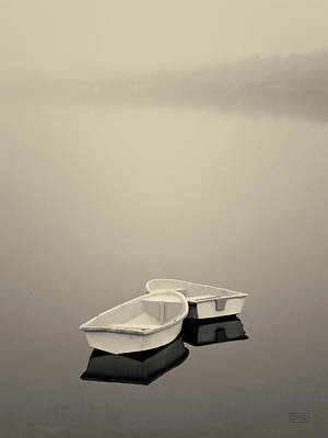 Two Boats And Fog Toned Poster