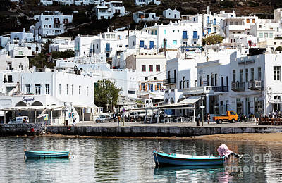 Two Boats In Mykonos Poster