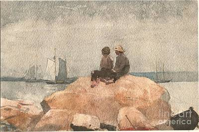 Two Boys Watching Schooners Poster by Celestial Images