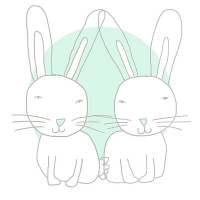 Two Bunnies- Art By Linda Woods Poster by Linda Woods