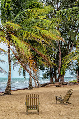 Poster featuring the photograph Two Chairs In Belize by Cheryl Strahl