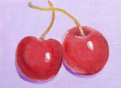 Two Cherries - Food Art Poster by Jan Matson