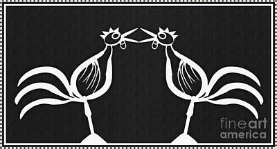 Two Crowing Roosters 2 Poster by Sarah Loft
