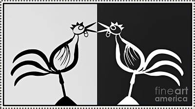 Two Crowing Roosters 3 Poster by Sarah Loft