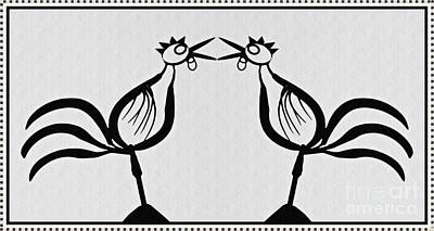 Two Crowing Roosters  Poster by Sarah Loft