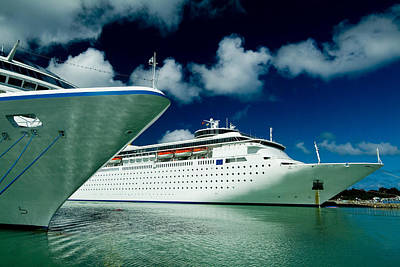 Two Cruise Ships Docked At A Caribbean Poster by Todd Gipstein