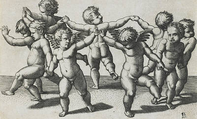 Two Cupids Leading Children In A Dance Poster