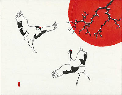 Two Dancing Cranes Poster by Stephanie Grant