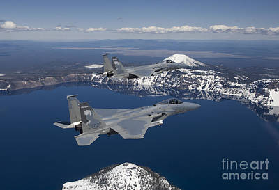 Two F-15 Eagles Fly Over Crater Lake Poster