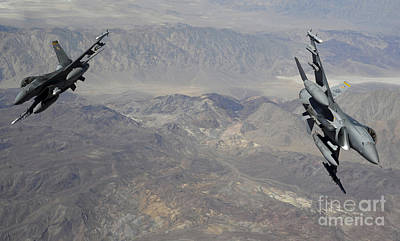 Two F-16 Fighting Falcons Break Poster by Stocktrek Images