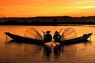 Two Fisherman At Sunset Poster