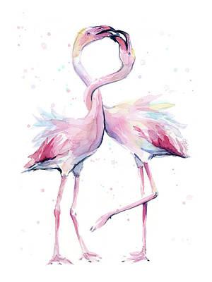 Two Flamingos Watercolor Famingo Love Poster