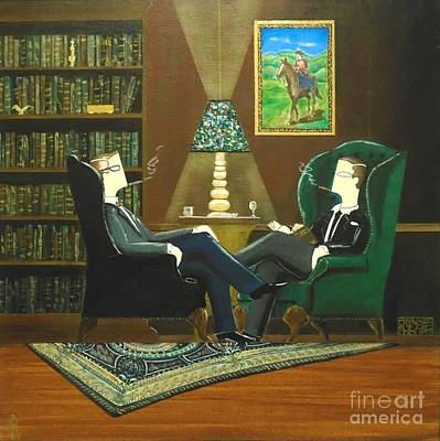 Two Gentlemen Sitting In Wingback Chairs At Private Club Poster