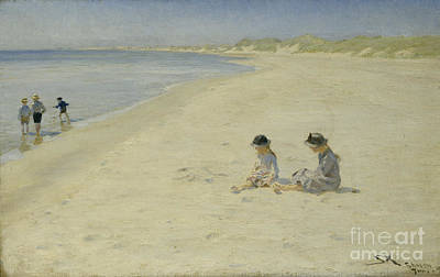 Two Girls At The Beach Poster by Peder Severin Kroyer