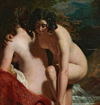 Two Girls Bathing Poster by William Etty