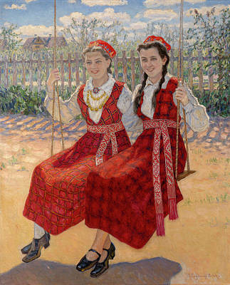 Two Girls On A Swing Poster by MotionAge Designs