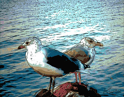 Two Gulls Poster by Ann Tracy