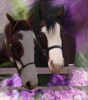 Two Horses And Purple Flowers Poster