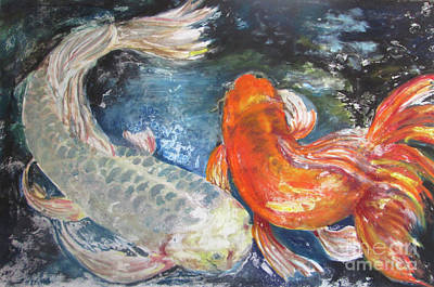 Poster featuring the painting Two Koi by Susan Herbst