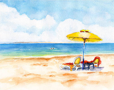 Two Lounge Chairs On Tropical Beach Poster