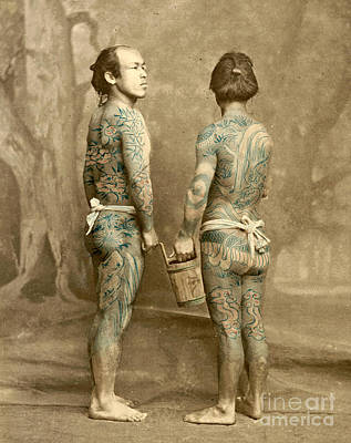 Two Men With Traditional Japanese Irezumi Tattoos Poster