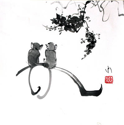 Two Monkeys Poster