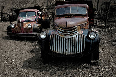 Two Old Trucks Poster by David Gordon