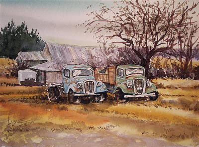 Two Old Trucks Poster