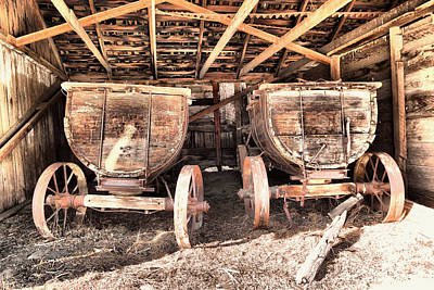 Poster featuring the photograph Two Old Wagons by Jeff Swan