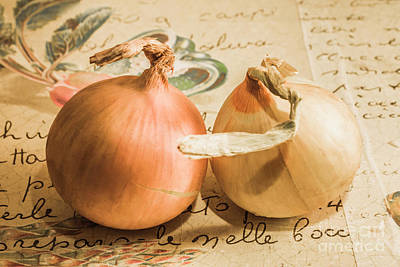 Two Onions On Recipe Paper Poster by Jorgo Photography - Wall Art Gallery