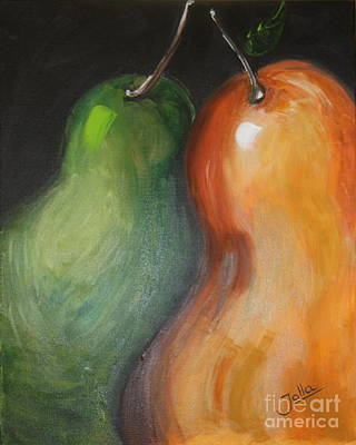 Poster featuring the painting Two Pears by Jolanta Anna Karolska