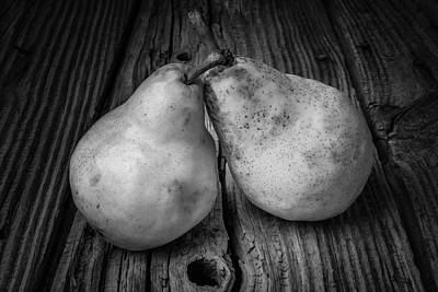 Two Pears Still Life Black And White Poster by Garry Gay