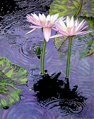 Two Pink Lilies In The Rain Poster by John Lautermilch