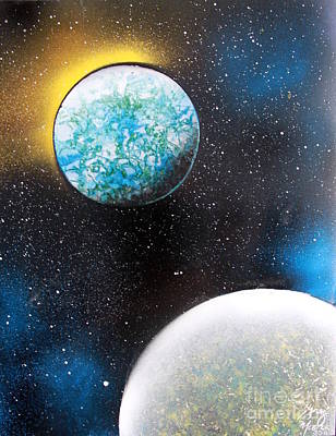 Poster featuring the painting Two Planets by Greg Moores