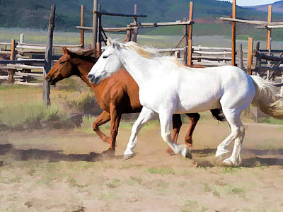 Poster featuring the digital art Two Ranch Horses Galloping Into The Corrals by Nadja Rider