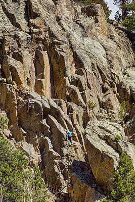Poster featuring the photograph Two Rock Climbers Making Their Way by James BO Insogna