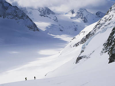 Two Skiers In Big Glacial Landscape Poster by Penny Kendall