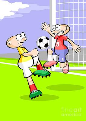 Two Soccer Players Compete For The Ball In Front Of The Goal Poster