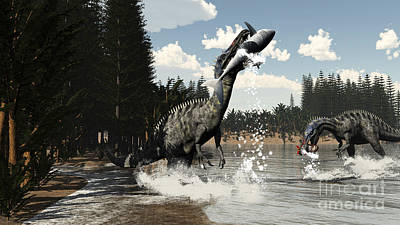 Two Suchomimus Dinosaurs Catch A Fish Poster by Elena Duvernay