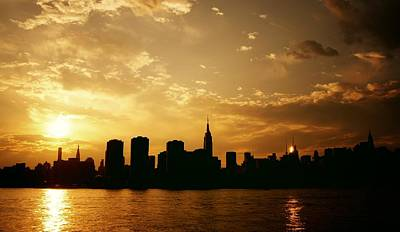 Two Suns - The New York City Skyline In Silhouette At Sunset Poster by Vivienne Gucwa