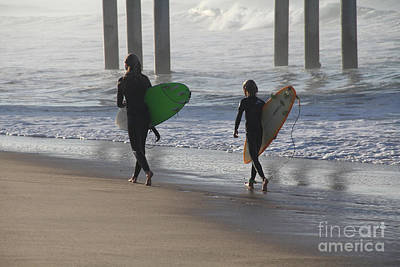 Two Surfers In Step Huntington Beach Poster by Linda Queally