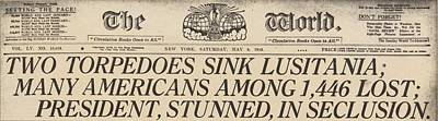 Two Torpedoes Sink Lusitania Many Poster