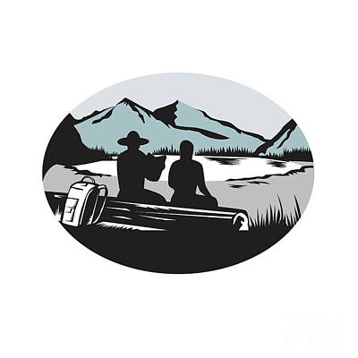 Two Trampers Sitting On Log Lake Mountain Oval Woodcut Poster by Aloysius Patrimonio