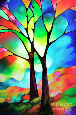 Two Trees Poster by Sally Trace
